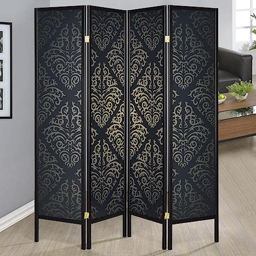 Coaster Folding Screens Four Panel Folding Floor Screen with Black Finish & Gold Tone Damask Print