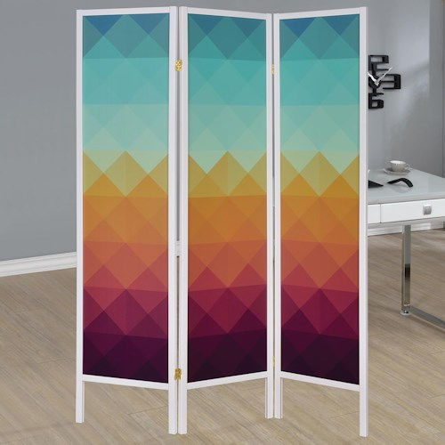 Coaster Folding Screens Contemporary Three Panel Folding Floor Screen with Geometric Print
