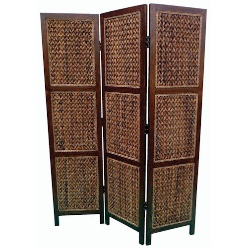 Coaster Folding Screens Three Panel Folding Floor Screen with Woven Banana Leaf Panels