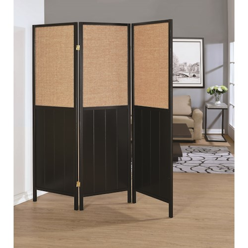 Coaster Folding Screens Three Panel Folding Screen with Woven Panels