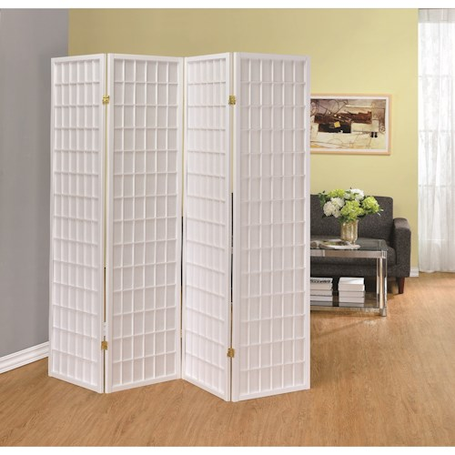 Coaster Folding Screens Four Panel White Folding Screen