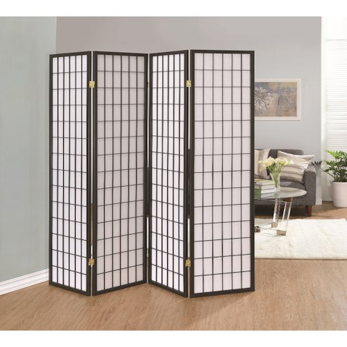 Coaster Folding Screens Grey Four Panel Folding Screen