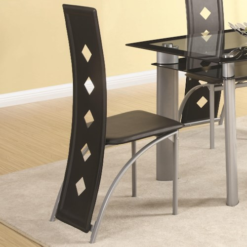 Coaster Fontana Vinyl Side Chair with Square Pattern Back