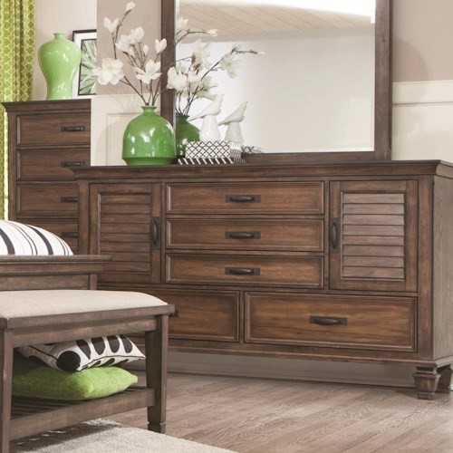 Coaster Franco 5 Drawer Dresser with 2 Louvered Doors