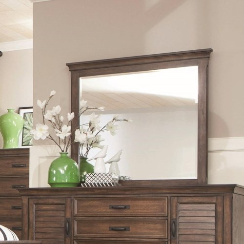 Coaster Franco Mirror with Burnished Oak Wood Frame