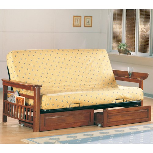 Coaster Futons Casual Futon Frame and Mattress with Flip Up Arms, Magazine Racks, and Storage Drawers