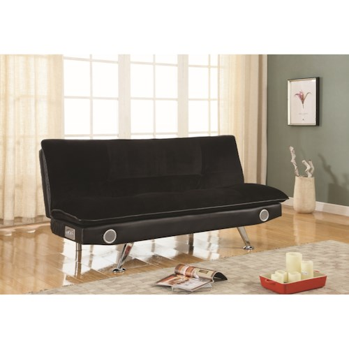 Coaster Futons Black Leatherette Sofa Bed with Bluetooth Speakers