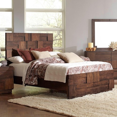Coaster Gallagher King Bed with Geometric Layered Wood Patterns