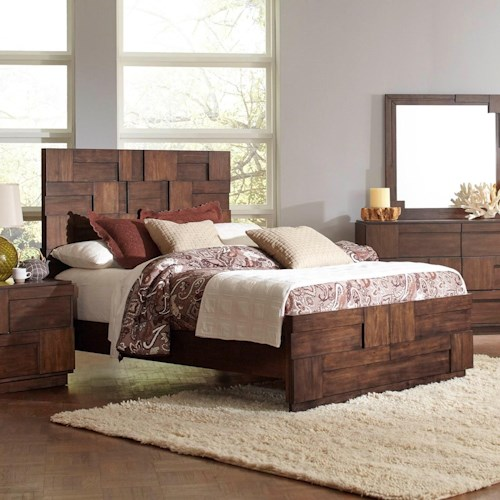 Coaster Gallagher California King Bed with Geometric Layered Wood Patterns