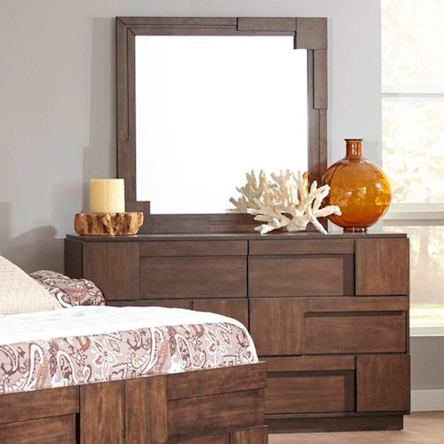 Coaster Gallagher 6 Drawer Dresser and Mirror with Geometric Paneling