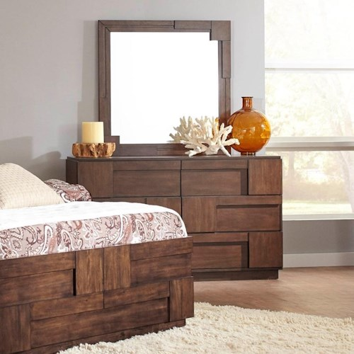 Coaster Gallagher 6 Drawer Dresser with Geometric Layered Wood Panels