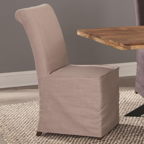 Coaster Galloway Slip Covered Fabric Dining Chair
