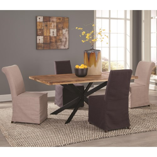 Coaster Galloway 5 Piece Rustic Table and Slip Cover Chair Set