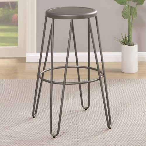 Coaster Galway Bar Height Stool with Gunmetal Finish