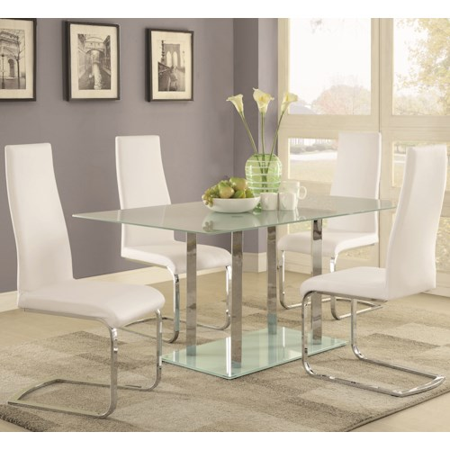 Coaster Geneva Contemporary Glass Table and Chair Set