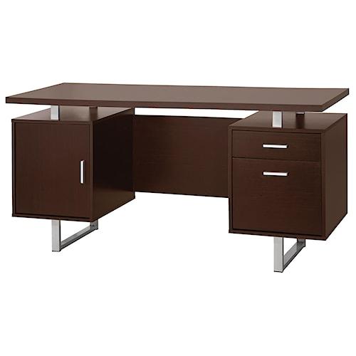 Coaster Glavan Contemporary Double Pedestal Office Desk with Metal Sled Legs & Floating Desk Top