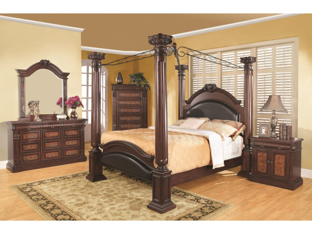Shown in Room Setting with Dresser, Mirror, Chest and Bed
