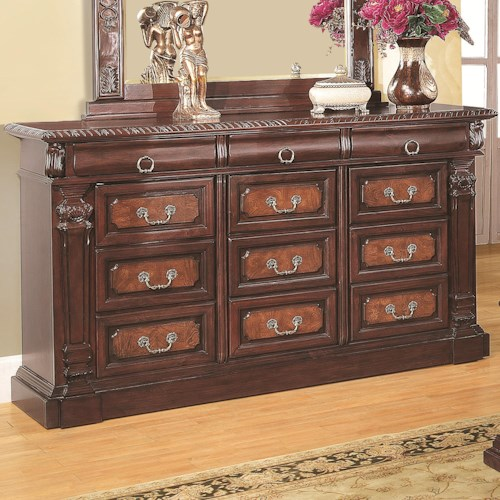 Coaster Grand Prado Dresser w/ 3 Felt-Lined Drawers and 9 Drawers