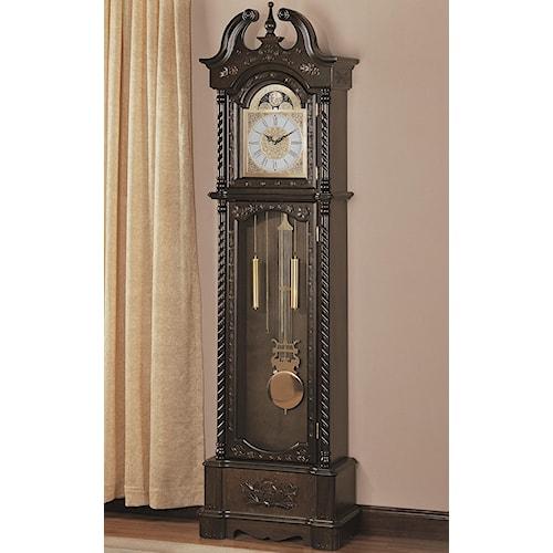 Coaster Grandfather Clocks Dark Traditional Grandfather Clock with Chime
