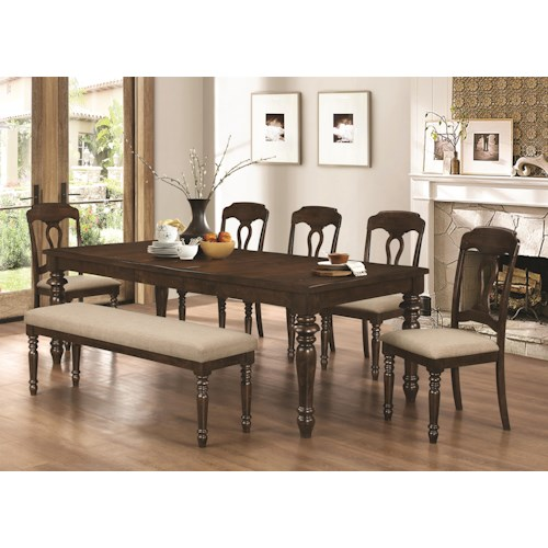 Coaster Hamilton 7 Piece Table, Bench & Splat Back Side Chair Set