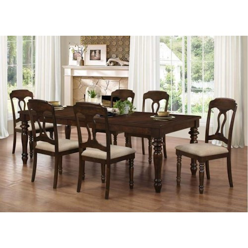 Coaster Hamilton 7 Piece Dining Set with Splat Back Side Chairs
