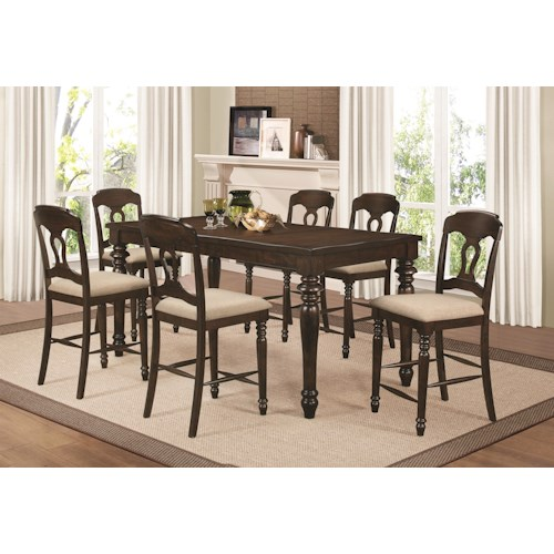 Coaster Hamilton 7 Piece Counter Height Dining Set with Splat Back Side Chairs