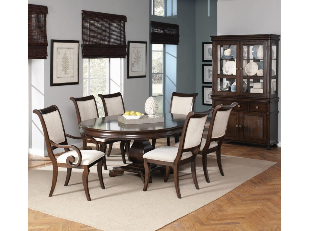 Shown in Room Setting with Table, Side Chairs, Arm Chairs and Hutch