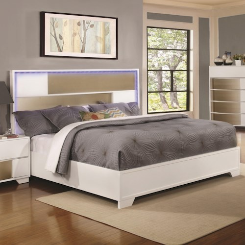 Coaster Havering Eastern King Bed with LED Lighted Headboard