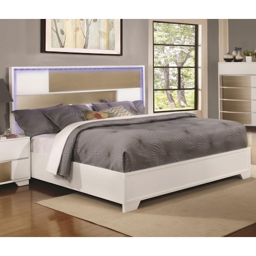 Coaster Havering California King Bed with LED Lighted Headboard