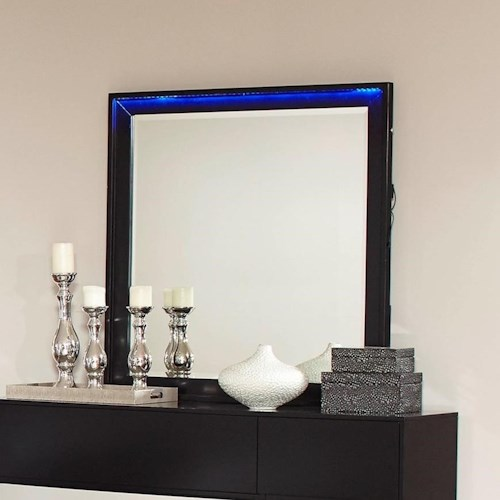 Coaster Havering Mirror with Wood Frame and LED Accent Lights
