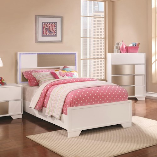Coaster Havering Contemporary Twin Bed With LED Lighted Headboard