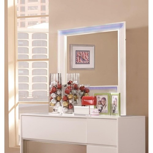 Coaster Havering Smaller Scale Mirror with Wood Frame and LED Lighting