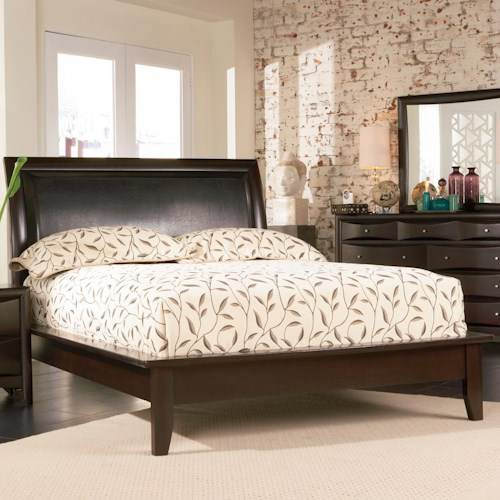 Coaster Phoenix Contemporary California King Platform Bed with Vinyl Panel Headboard