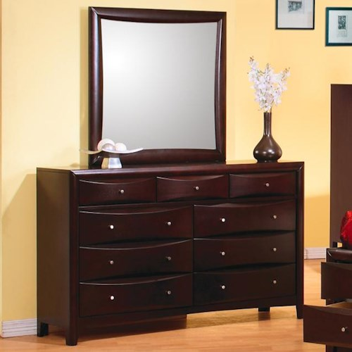 Coaster Phoenix Contemporary 9 Drawer Dresser and Mirror