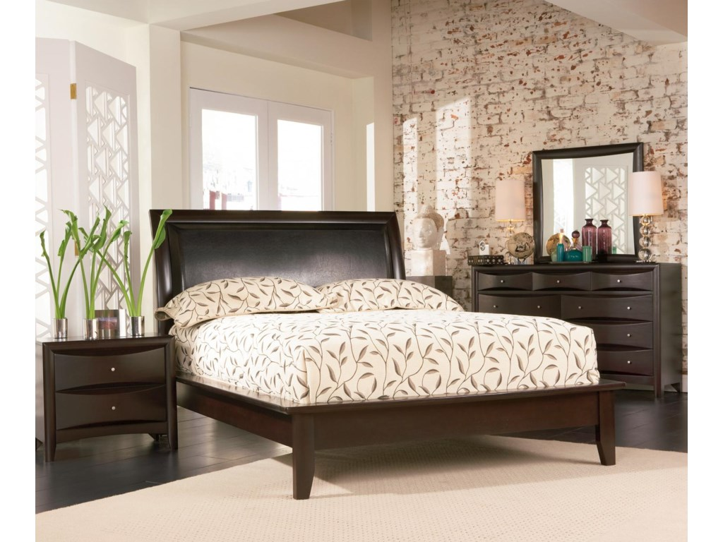 Shown in Room Setting with Nightstand, Platform Bed, and Mirror