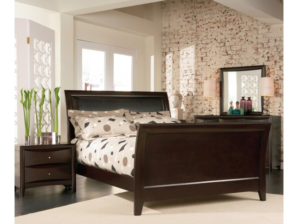 Shown in Room Setting with Nightstand, Sleigh Bed, and Dresser