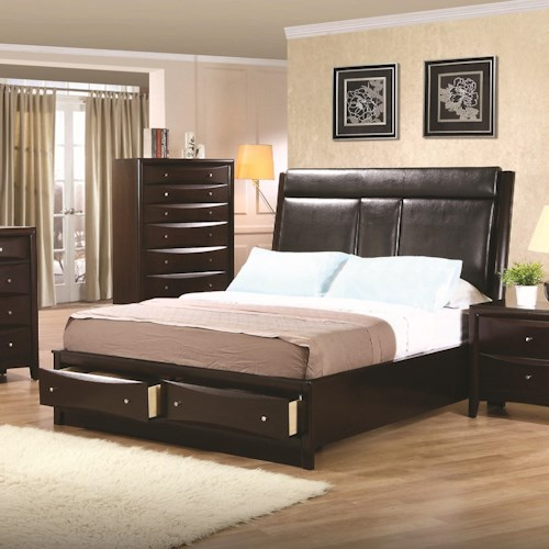 Coaster Phoenix King Upholstered Storage Platform Bed