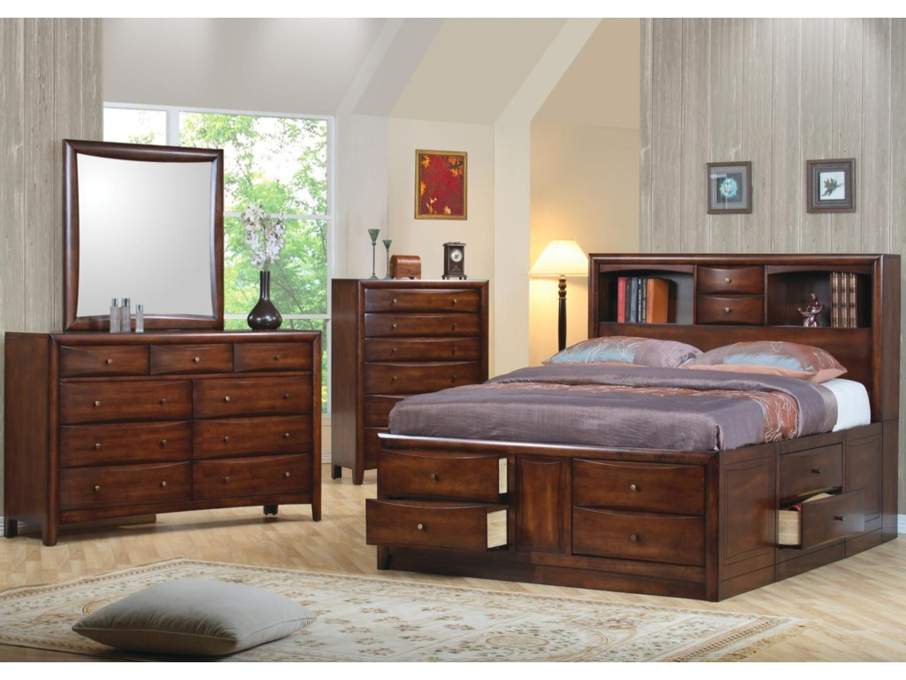 Shown in Room Setting with Dresser, Mirror, and Chest