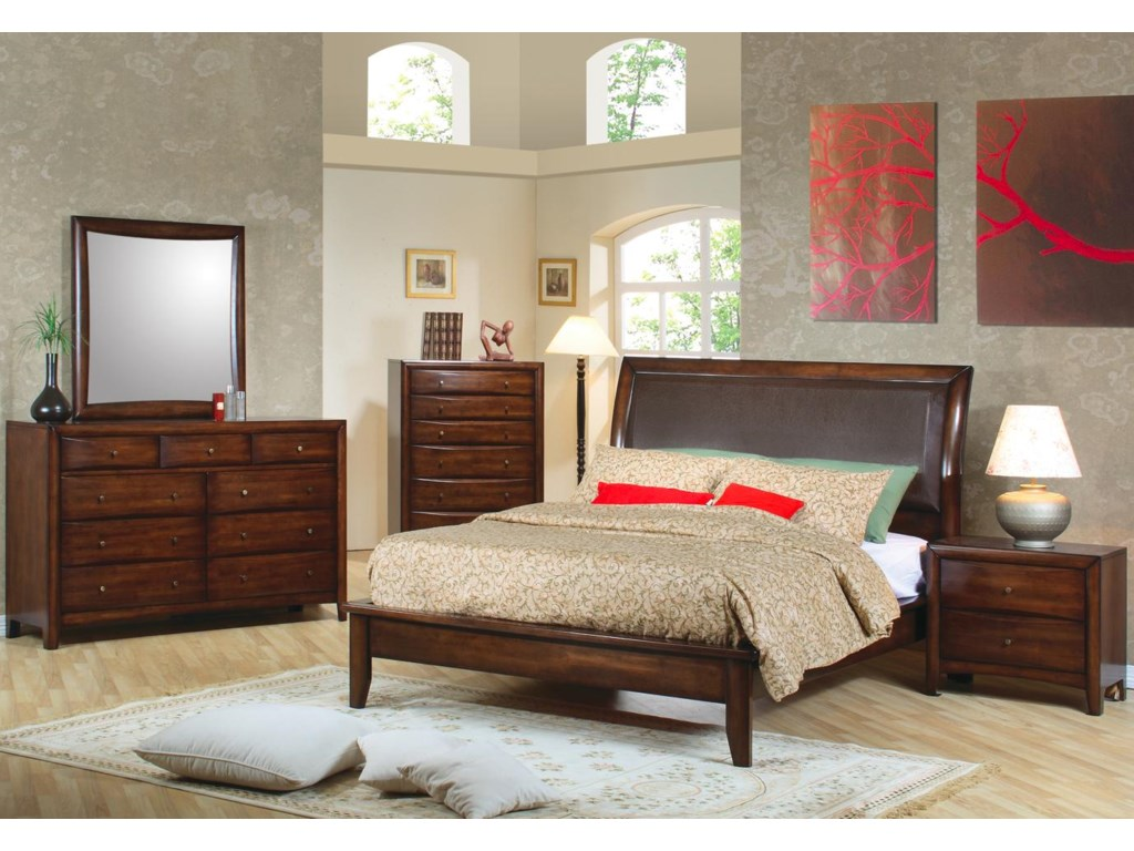 Shown in Room Setting with Dresser, Mirror, Platform Bed, and Nightstand