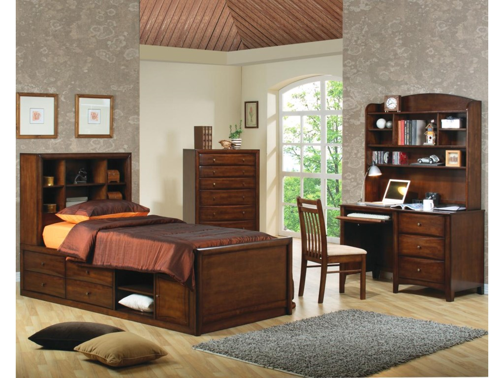 Shown in Room Setting with Bookcase Bed, Chair, and Desk with Hutch