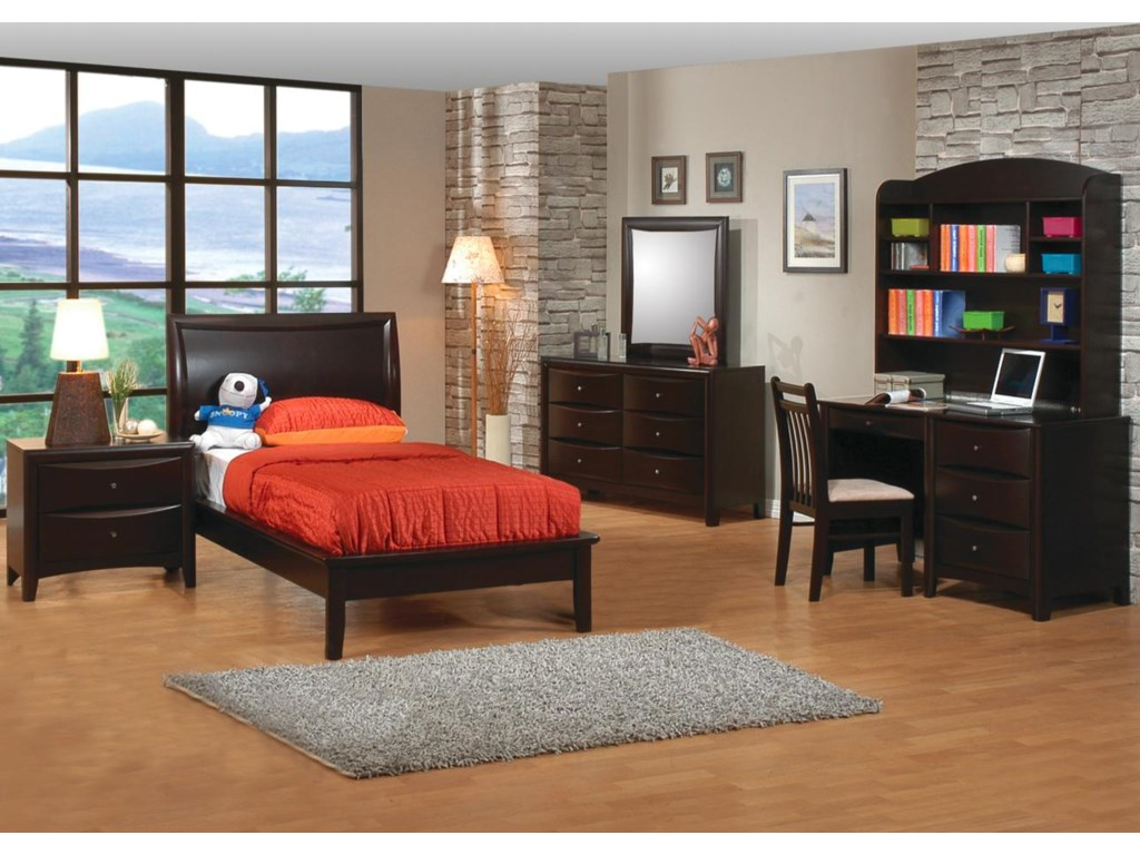 Shown in Room Setting with Nightstand, Platform Bed, Dresser, Chair, and Desk with Hutch