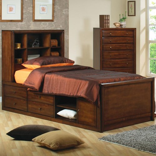 Coaster Hillary and Scottsdale Twin Bookcase Bed with Underbed Storage