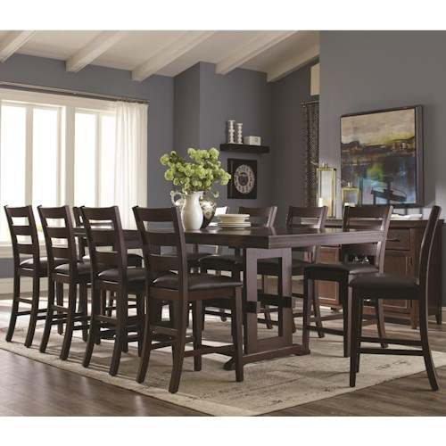 Coaster Holbrook 11 Piece Counter Height Table and Ladder Back Chair Set