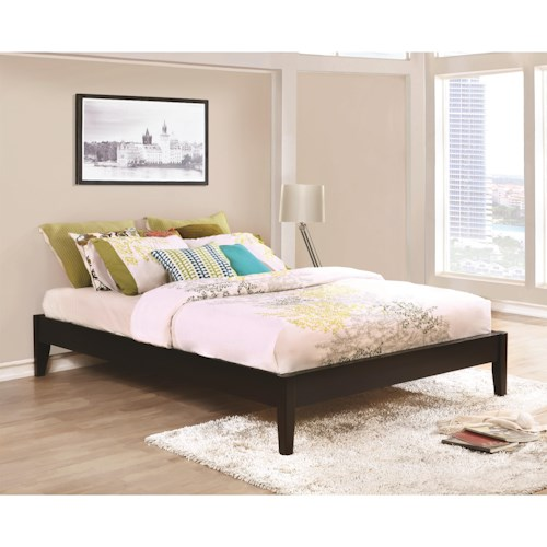 Coaster Hounslow Queen Platform Bed in Cappuccino Finish