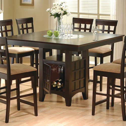 Coaster Mix & Match Counter Height Dining Table with Storage Pedestal Base