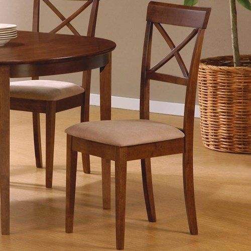 Coaster Mix & Match Cross Back Dining Chair with Fabric Seat