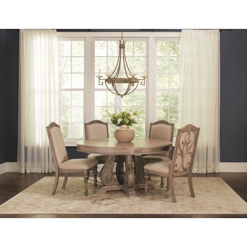 Coaster Ilana Traditional 5 Piece Table and Chair Set with Pedestal