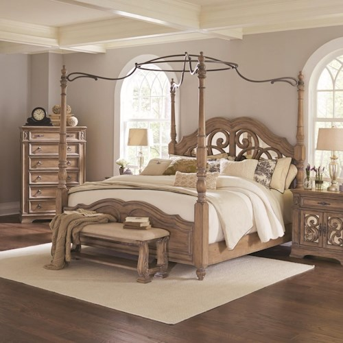 Coaster Ilana Queen Canopy Bed with Mirror Back Headboard