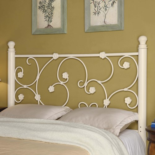 Coaster Iron Beds and Headboards Full/Queen White Metal Headboard with Elegant Vine Pattern