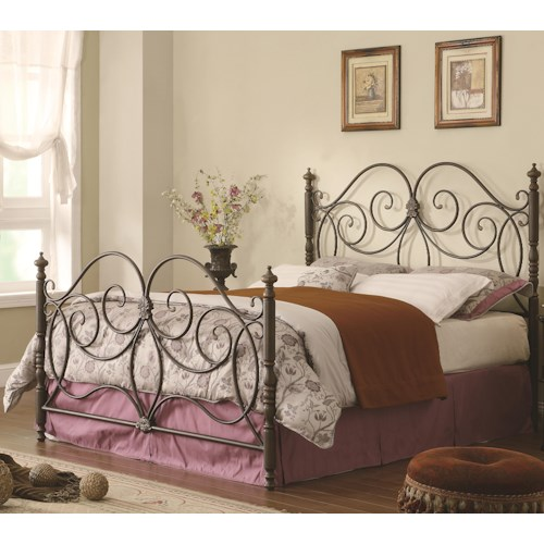 Coaster Iron Beds and Headboards King Iron Bed with Scroll Details